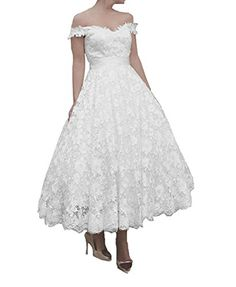 61ae30a9c0 FNKS 1950s Vintage StyleTea Length Off Shoulder Straps Unique Wedding Dress  Gowns at Amazon Women s Clothing store