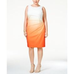 Calvin Klein Plus Size Pleated Ombre Sheath Dress ($70) ❤ liked on Polyvore featuring plus size women's fashion, plus size clothing, plus size dresses, tart orange ombre, pleated dress, womens plus dresses, calvin klein dresses and plus size pleated dress