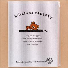 grey-white striped Rilakkuma Factory bear pencil 6-pocket A4 / A3 file folder 1