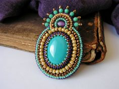 Bead embroidery brooch Beadwork brooch Turquoise by MisPearlBerry, $42.00