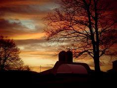 sunrise on the farm #michigan #sunrise @silhouette #winter #colors