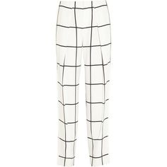 Chloé Checked crepe straight-leg pants (€355) ❤ liked on Polyvore featuring pants, white, loose fit pants, high waisted pants, crepe pants, white loose pants and straight leg pants