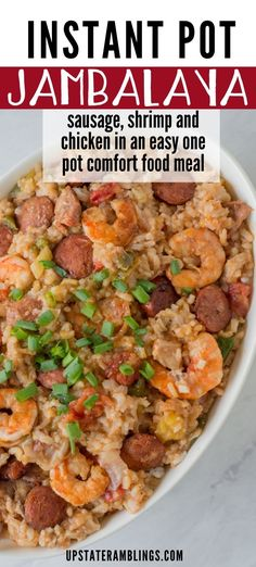 Easy one pot dinner for fall! This Instant Pot Jambalaya recipe is a Cajun inspired one dish recipe with shrimp, andouille sausage, chicken and rice that will make a spicy dinner for your family. Using a pressure cooker makes it quick and easy. Shrimp Recipes, New Recipes, Jambalaya Recipe Instant Pot, Food Dishes, Main Dishes, Using A Pressure Cooker, Cooking With Kids, Casseroles, Sausage