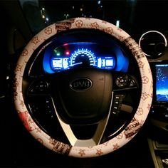 $34.85 Floral LV PU Leather Auto Car Steering Wheel Covers 15 inch 38CM - White Beige, Selected high-grade PU Leather, do not fall off, Inner ring using Natural rubber, Green, No stimulation, Non-Slip, Excellent breathability, pest control, sterilization, anti-static, Easy to clean, no deformation, high wear resistance, Four Seasons General.