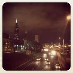 """Sears tower on a cloudy night - 290 Expressway - CTA """"L""""- Chicago, IL"""
