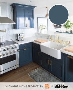 Uplifting Kitchen Remodeling Choosing Your New Kitchen Cabinets Ideas. Delightful Kitchen Remodeling Choosing Your New Kitchen Cabinets Ideas. Blue Cabinets, White Kitchen Cabinets, Kitchen Cabinet Design, Kitchen Redo, Home Decor Kitchen, New Kitchen, Home Kitchens, Kitchen Ideas, Gold Kitchen