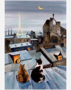 Colette Bruneliere: Paris cats on the roof -jones and phoebe! Cat Painting, Animal Art, Paris Cat, Painting Illustration, Illustration Art, Pictures, Cat Drawing, Paris Art