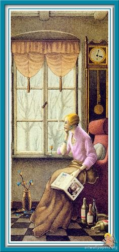 Looking Out The Window, Woman Reading, Fabric Painting, Designer Wallpaper, Love Art, Art Gallery, Illustration Art, Windows, Books