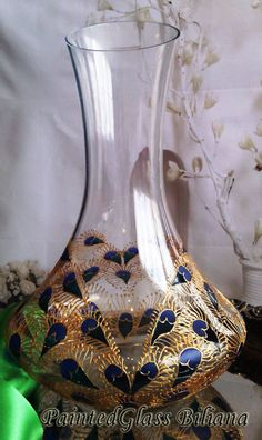 Hand painted wine bottle decanter Lace heart Peacock feathers in gold, blue and turquoise color
