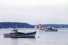 00036 Ansett Sunderland Flying Boat VH-BRF and two other vessels near the base at Rose Bay on Sydney Harbour, Sydney, N. Sea Plane, Float Plane, John Ward, Rose Bay, Airline Travel, Flying Boat, Aircraft Photos, Sunderland, Aviation