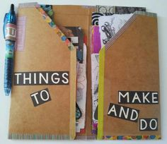 Inside the kraft folder insert I made to hold collage, ephemera, washi tape, and pen for my Midori Traveler's Notebook-using it as my on-the-go Art Journal. www.youtube.com/feliciaborges