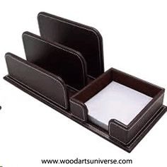 #Brown Genuine Top Grain Leather Post-It® Note & #LetterHolder http://woodartsuniverse.com/catalog/product_info.php?cPath=41&products_id=462