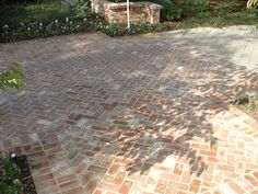 "Masonry paving is a horizontal surface laid with flat stones or brick pavers as well as cobblestone or concrete interlocking pavers. Brick pavers are often laid in ""fancy patterns"" such as a baske. Brick Driveway, Brick Paver Patio, Brick Paving, Paver Walkway, Concrete Patio, Brick Design, Patio Design, Cobblestone Patio, Paved Patio"