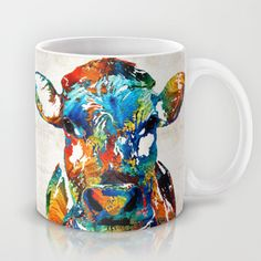 Colorful Cow Art - Mootown - By Sharon Cummings Mug by Sharon Cummings - $15.00