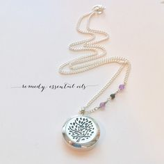 These tiny Amethyst and Onyx stones on this detailed chain are the perfect pair with this tree of life locket ❤️.