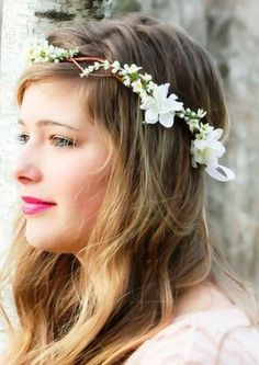 Bride's long down bridal hair ideas  Toni Kami Wedding Hairstyles ♥ ❶ wedding hairstyle with flower crown corona halo