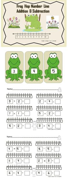 Students will enjoy hopping along the frog number line as they solve addition and subtraction problems. Simply place the frogs on the floor for students to hop to right to solve addition problems or hop to the left to solve subtraction problems. This is a