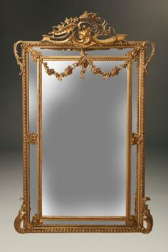 century Louis XV style gilded mirror with gilt garlands, circa Long Mirror, French Mirror, Old Mirrors, Mirror Tiles, Antique Items, Wood Art, 19th Century, Art Decor, Art Nouveau