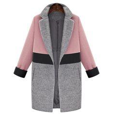 Elegant Lapel Long Sleeve Color Spliced Coat For Women