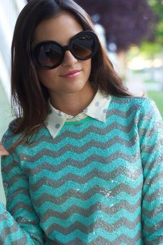 Pink Peonies: my looks - fall layers - polka dot blouse under chevron sweater