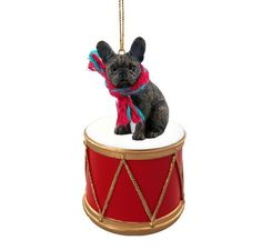 #Frenchie #french #bulldog brindle drum dog christmas ornament holiday figurine,  View more on the LINK: 	http://www.zeppy.io/product/gb/2/331720408422/