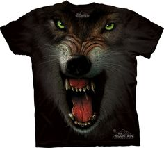 angry wolf t-shirt - Wolf T-Shirts - Big Face Wolf T-Shirts - Wolves on t-shirts - wolf shirts - beautiful wolves - animal shirts with wolves - christmas presents - ideas for christmas presents