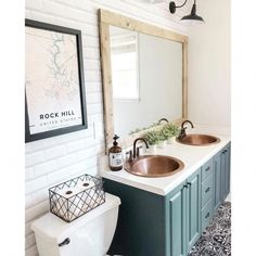 Decorating inspiration and magnificence ideas for master bathrooms, powder rooms, guest bathrooms, bathrooms. Traditional, contemporary, eclectic, transitional interior decorating. #luxuryBathroom Copper Bathroom, Double Sink Bathroom, Bathroom Sink Vanity, Small Bathroom, Bathroom Ideas, Bathroom Inspo, Bathroom Cabinets, Bathroom Designs, Bathroom Inspiration