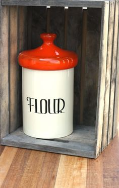 Large Vintage Orange Flour Kitchen Jar W/ Lid Mod Minimalist Made In The  USA By SaturdayPickings, Retro Housewares Ceramic 1970 Canister Red Art  Deco Large ...