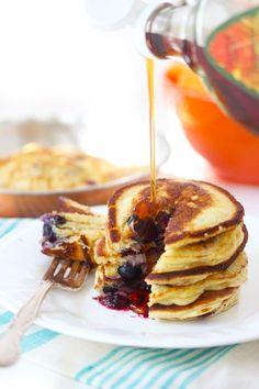 Paleo Pancakes - made with almond flour, tapioca flour, eggs, unsweetened applesauce, baking powder, and vanilla