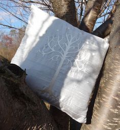 Silk Pillow Cover - Lord of the Rings (LOTR) White Tree of Gondor embroidered - 14x14 - silk dupioni on Etsy, $30.00