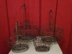 Lot: 4 PC METAL BASKET SET, NEW NEVER USED, #2 OF TWO, Lot Number: 0197A, Starting Bid: $15, Auctioneer: Wilton Gallery, Auction: HUGE MULTI ESTATE AUCTION, Date: December 27th, 2016 PST