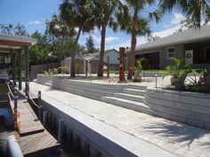 Florida Water Front using Allan Block. Decorative Concrete Blocks, Cheap Diy Home Decor, Florida Water, Wall Hung Vanity, Landscaping Supplies, Block Wall, Bath Decor, Decor Crafts, Retaining Walls