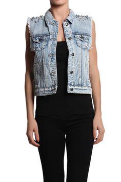 TheMogan Spiked Shoulder Lace Back Denim Vest