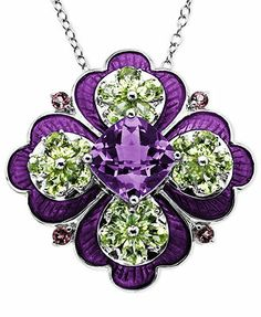 Town & Country Sterling Silver Necklace, Multistone Flower Pendant