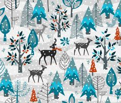 Winter Snow Woodland Animals  fabric by mariafaithgarcia on Spoonflower - custom fabric