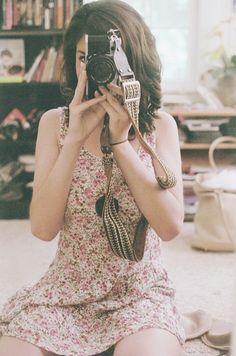 Camera girl in flower dress