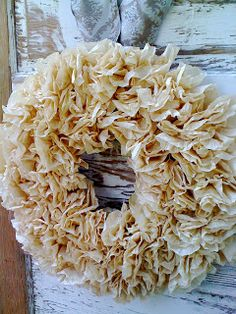 Paper Wreath made of tea-stained coffee filters