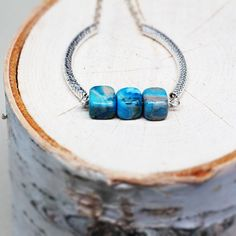 Blue Cubes Geometric Necklace Textured Sterling Silver Bar Necklace, Curved Tube Bar Layering Bar Necklace, Simple Gift Everyday Jewelry