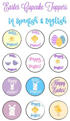 Bilingual Easter Cupcake Toppers-Spanish and English