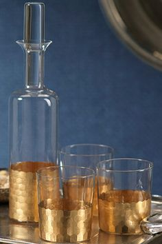 gold leaf glass decanter set