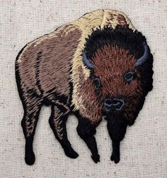 Iron On Embroidered Applique Patch Brown Buffalo American Bison