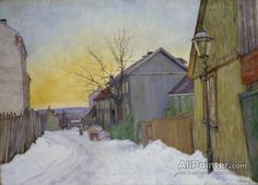 Harald Oskar Sohlberg Street In Oslo oil painting reproductions for sale