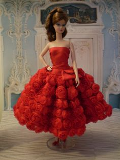 Red Rosebud Dress for Silkstone Dolls