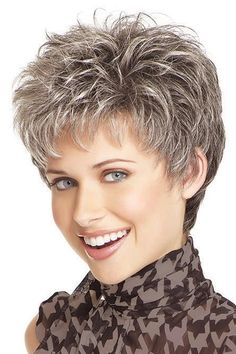 Buy picture color hot sale hair Curly products Beautiful boy cut Short pixie wigs for women style Synthetic Gray hair wig with bangs 2086 at Wish - Shopping Made Fun Short Pixie Wigs, Short Human Hair Wigs, Short Shag, Pixie Cuts, Grey Hair Wig, Short Grey Hair, Hair Bangs, Long Hair, Older Women Hairstyles