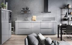 IKEA kitchens are not the same everywhere in the world. People buying IKEA kitchens in the United States and Canada get the SEKTION line. Grey Kitchen Designs, Ikea Kitchen Design, Modern Kitchen Design, Kitchen Interior, Interior Paint, Kitchen Ideas, Interior Design, Grey Ikea Kitchen, Ikea Kitchen Cabinets