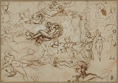 Carracci, Italian, 1557 -1602, Figure Studies for Various Female and Male Figures (recto); Threes Amors in the Garden of Venus