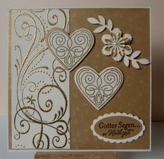 handmade card: Wedding Card Gold ... gold embossing ... vanilla and kraft paper ... gorgeous ... hearts and flourishes ... Stampin'UP!