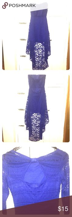 Royal blue high/low dress✨ Like new worn once Deb Dresses High Low
