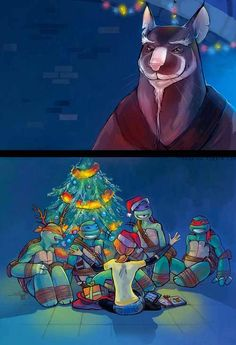 A Christmas with the turtles.Weird guy:But its not even Christmas!!! Me:i dont care