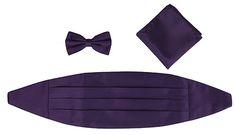 Plum Cummerbund, Bowtie, Pocket Square Set (Everything Purple Website)